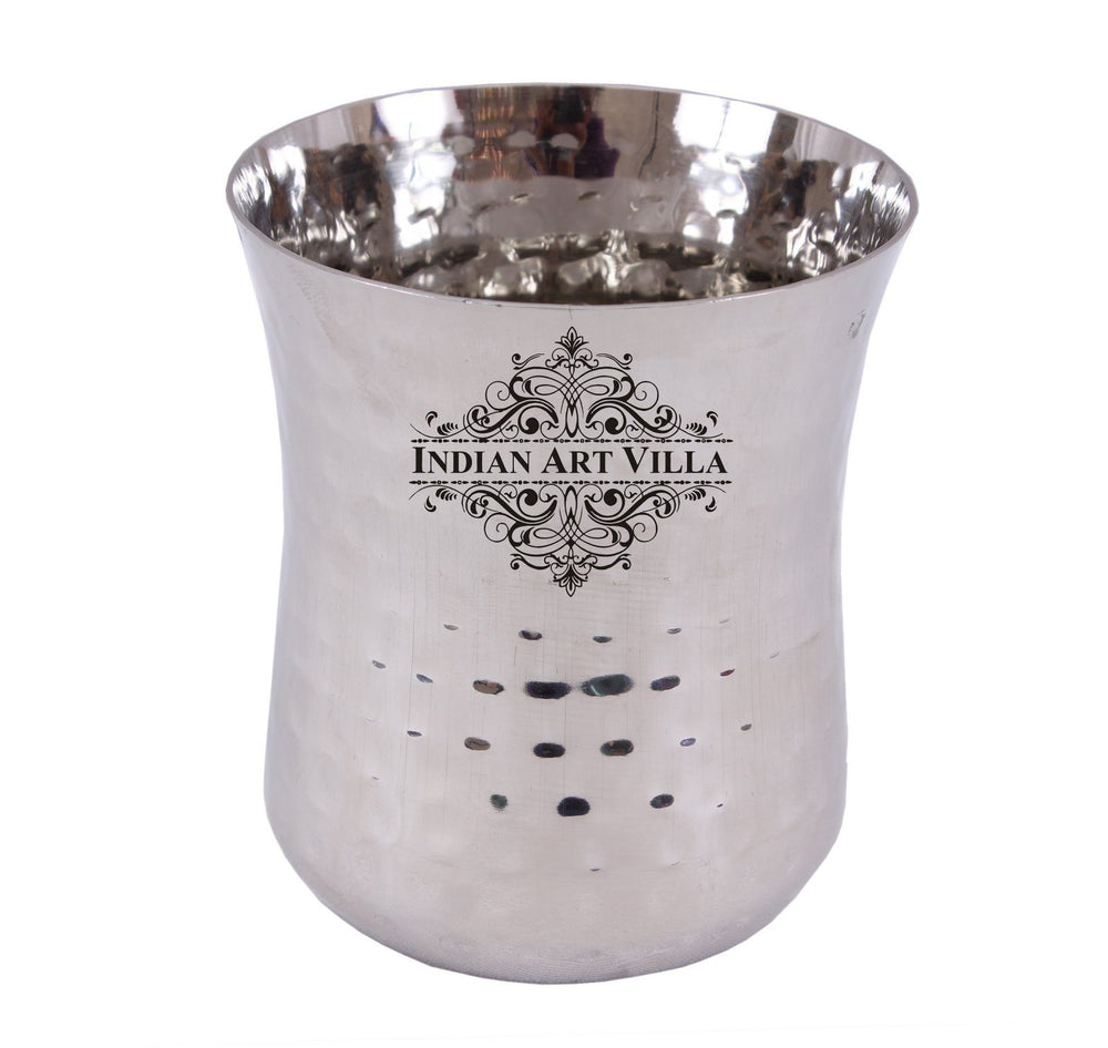Stainless Steel Hammered Glass Tumbler Cup 11 Oz