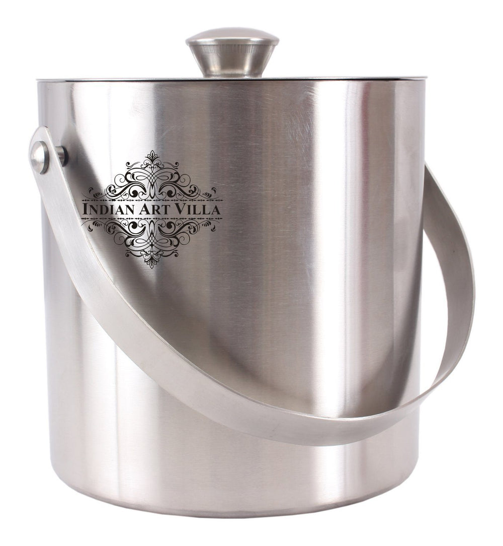 Stainless Steel Ice Bucket with Lid Ice Containers Indian Art Villa