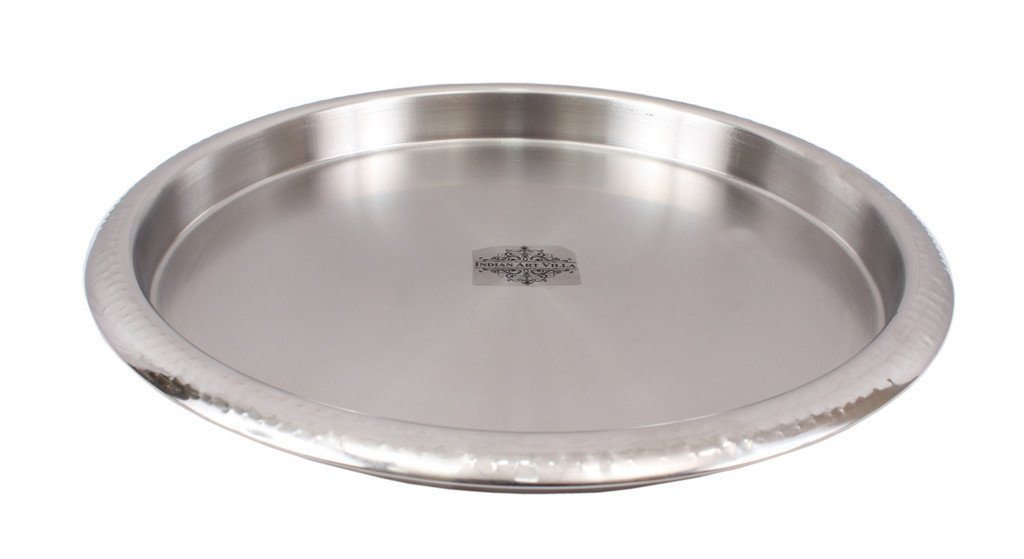 Stainless Steel Round Serving Bar Tray Tray Indian Art Villa