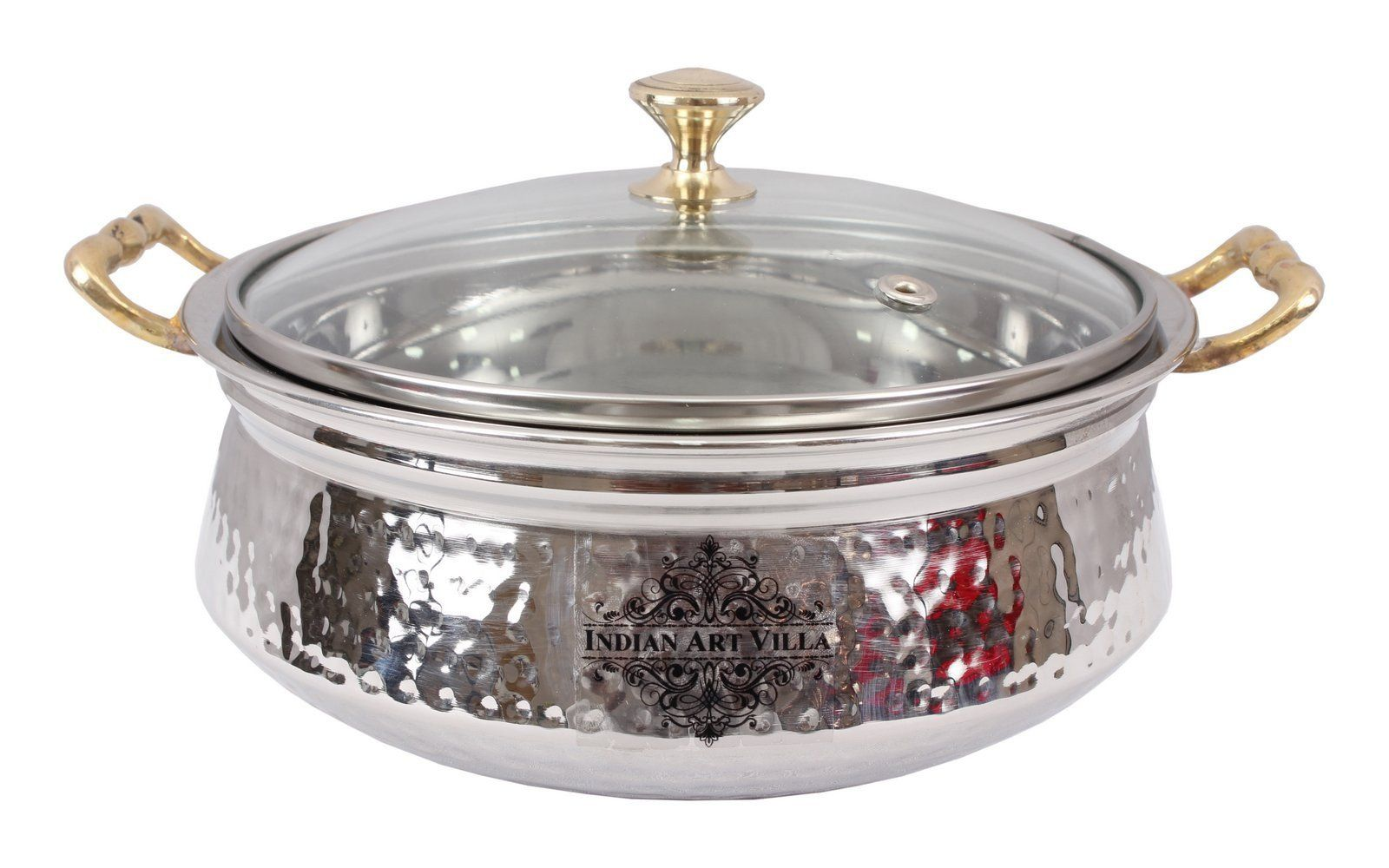Stainless Steel Serving Handi Bowl with Glass Lid