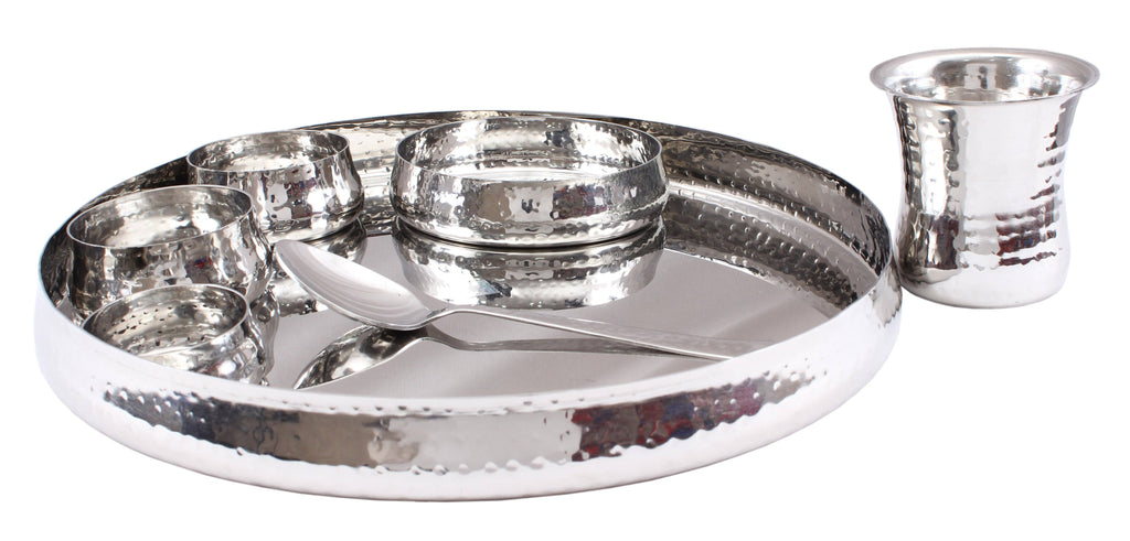 Steel 7 Piece Curved Thali Set (1 Thali, 2 Bowl, 1 Chutni, 1 Pudding Plate, 1 Curved Glass, 1 Spoon)