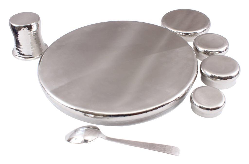 Steel 7 Piece Curved Thali Set (1 Thali, 2 Bowl, 1 Chutni, 1 Pudding Plate, 1 Curved Glass, 1 Spoon) Steel Dinner Sets SB-TW