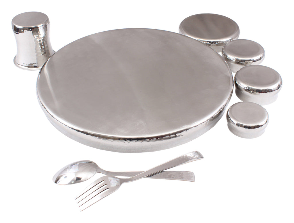Steel 9 Piece Curved Thali Set (1 Thali, 3 Bowl, 1 Chutni, 1 Pudding Plate, 1 Curved Glass, 1 Spoon, 1 Fork) Steel Dinner Sets SS-5
