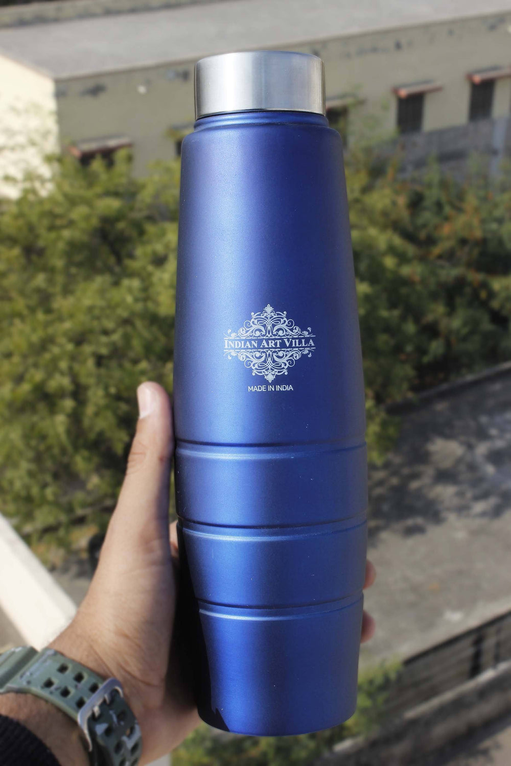 Steel Bottle Lining Curve Design Steel Cap Blue Matt 33 Oz, Water Storage