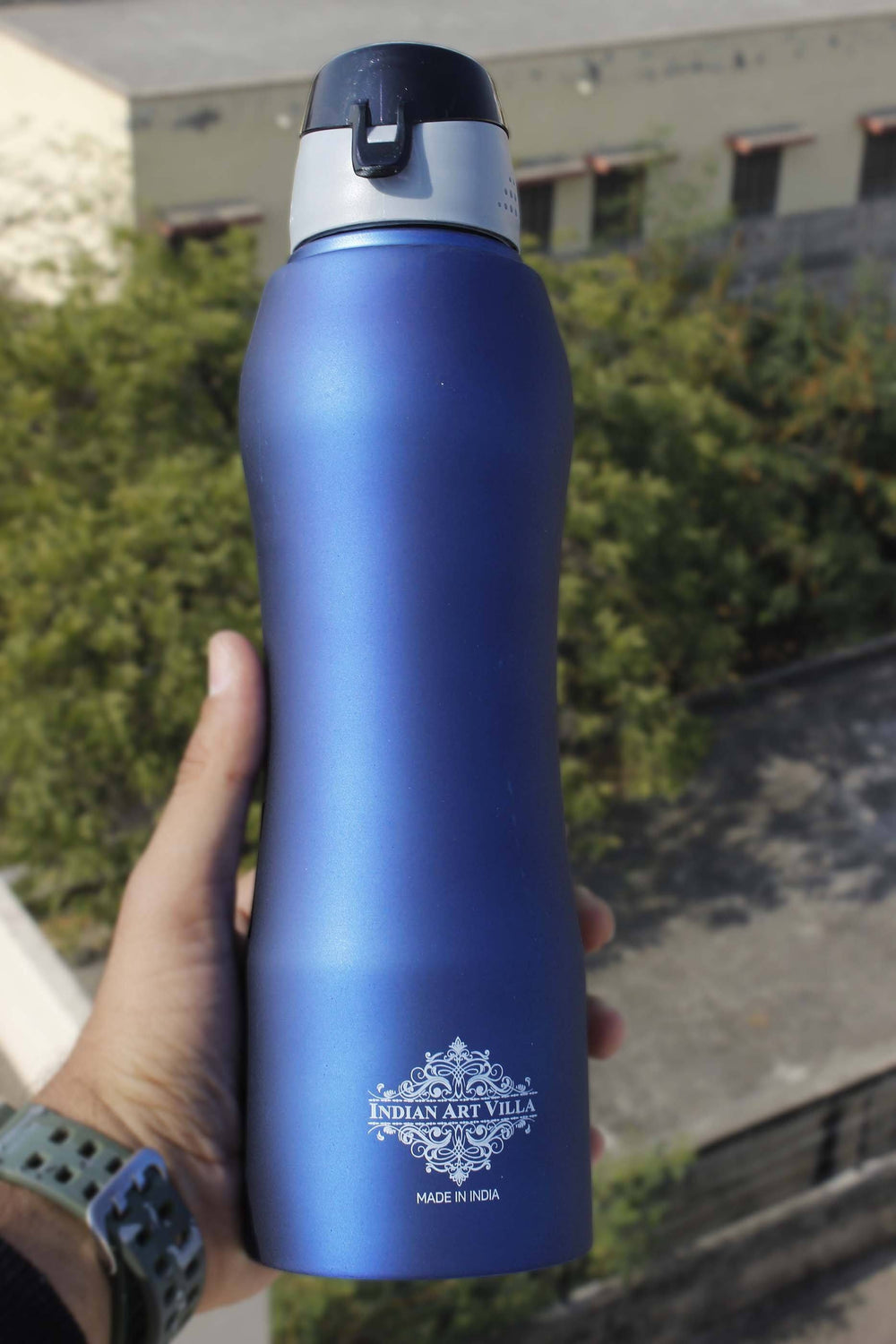 Steel  Bottle Ergonomic Design New Sipper Cap Blue Matt 33 Oz