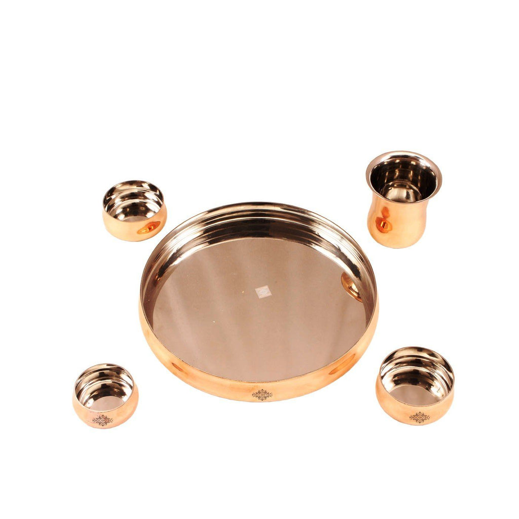 Steel Copper 5 Piece Small Curved Thali Set Dinner Sets IAV-SCB-TW-348