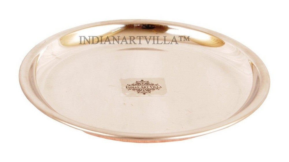 "Steel Copper 7.5"" Serving Plate Plates Indian Art Villa"