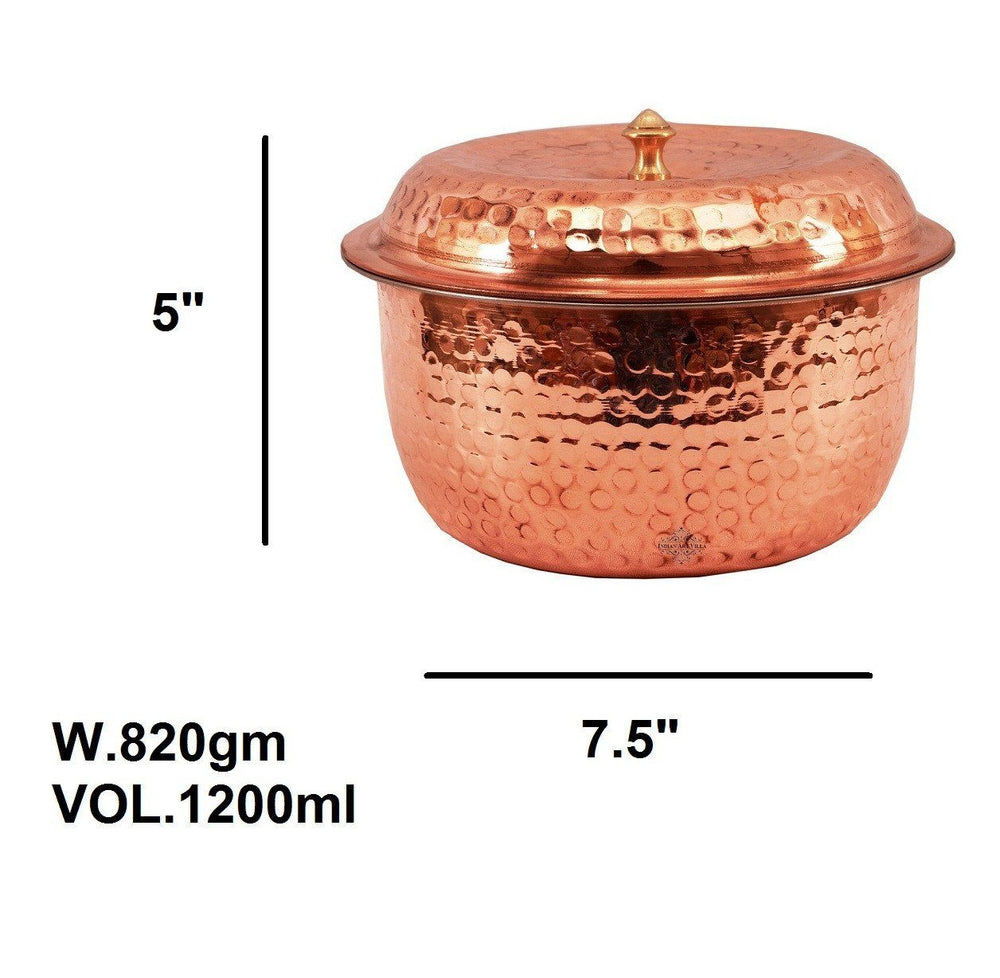 Steel Copper Casserole With Lid 40 Oz Casseroles Indian Art Villa