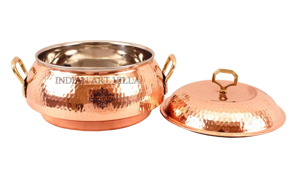 Steel Copper Casserole with Lid 77 Oz Casseroles Indian Art Villa