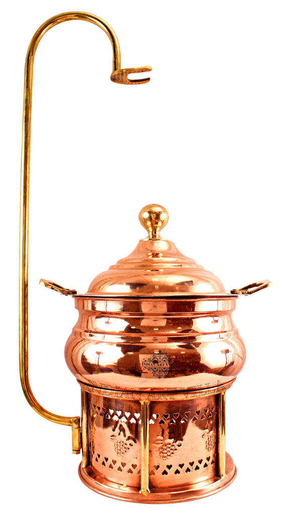 Steel Copper Chaffing Dish With Stand & Handle - 135.25 Oz  | 202.88 Oz | 270.51 Oz