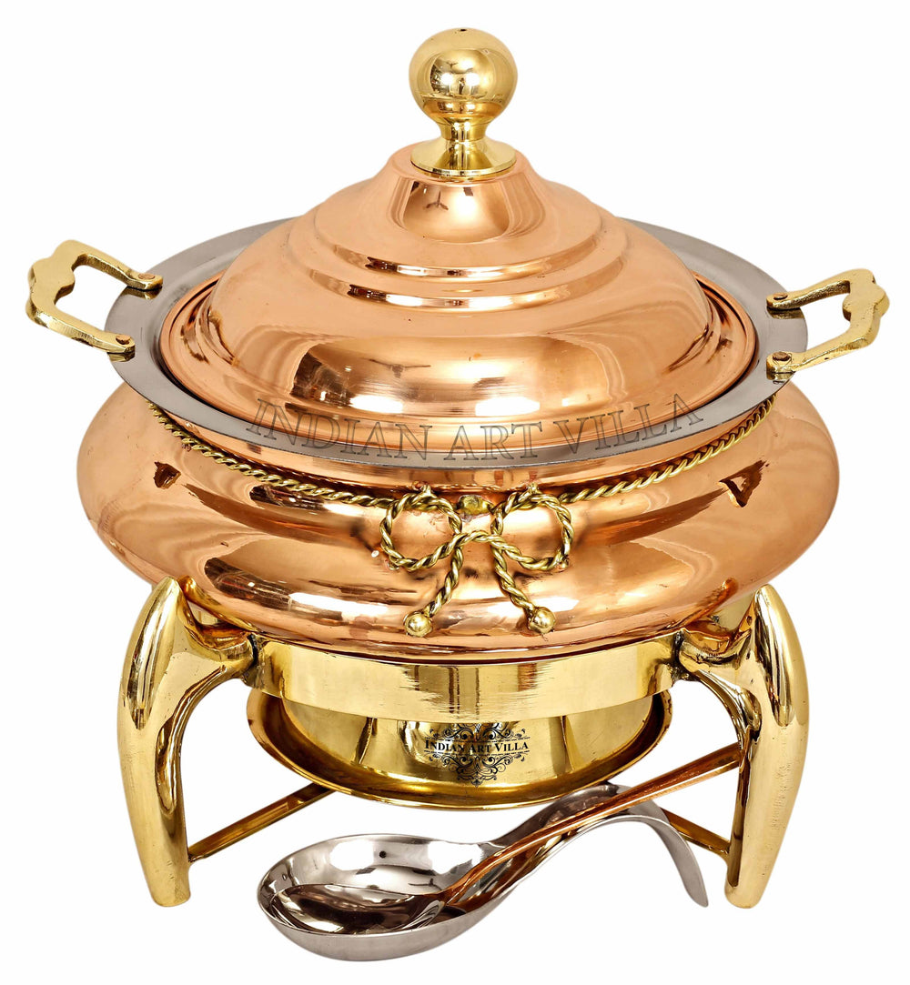 Steel Copper Chafing Dish with Brass fuel Gel Stand & Serving Spoon, 6 Ltr. Chafing Dishes CC-32