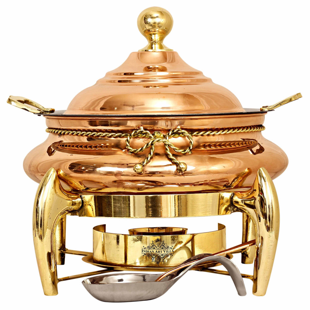 Steel Copper Chafing Dish with Brass fuel Gel Stand & Serving Spoon, 6 Ltr.