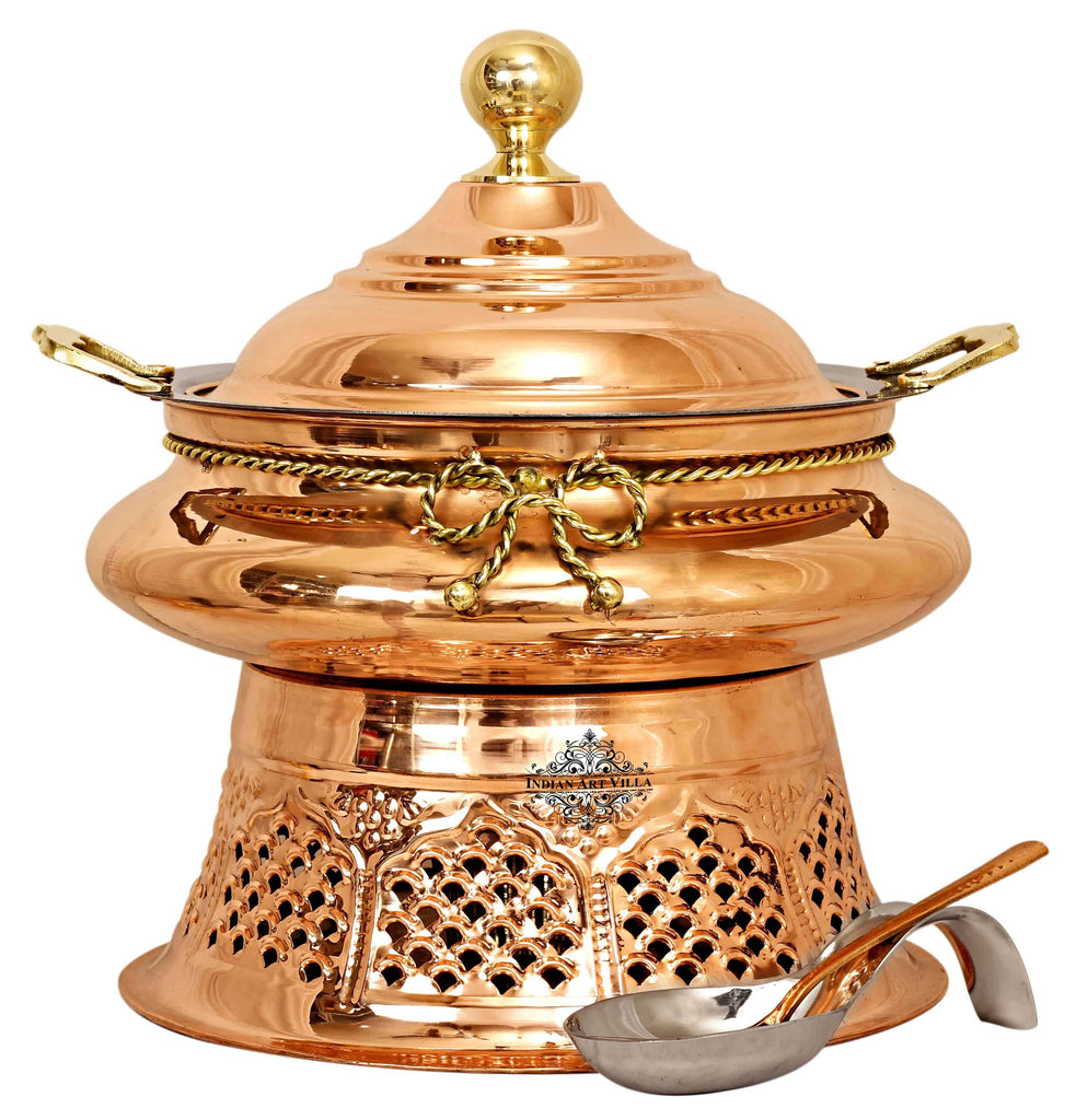 Steel Copper Chafing Dish with Stand & Serving Spoon, 6 Ltr.