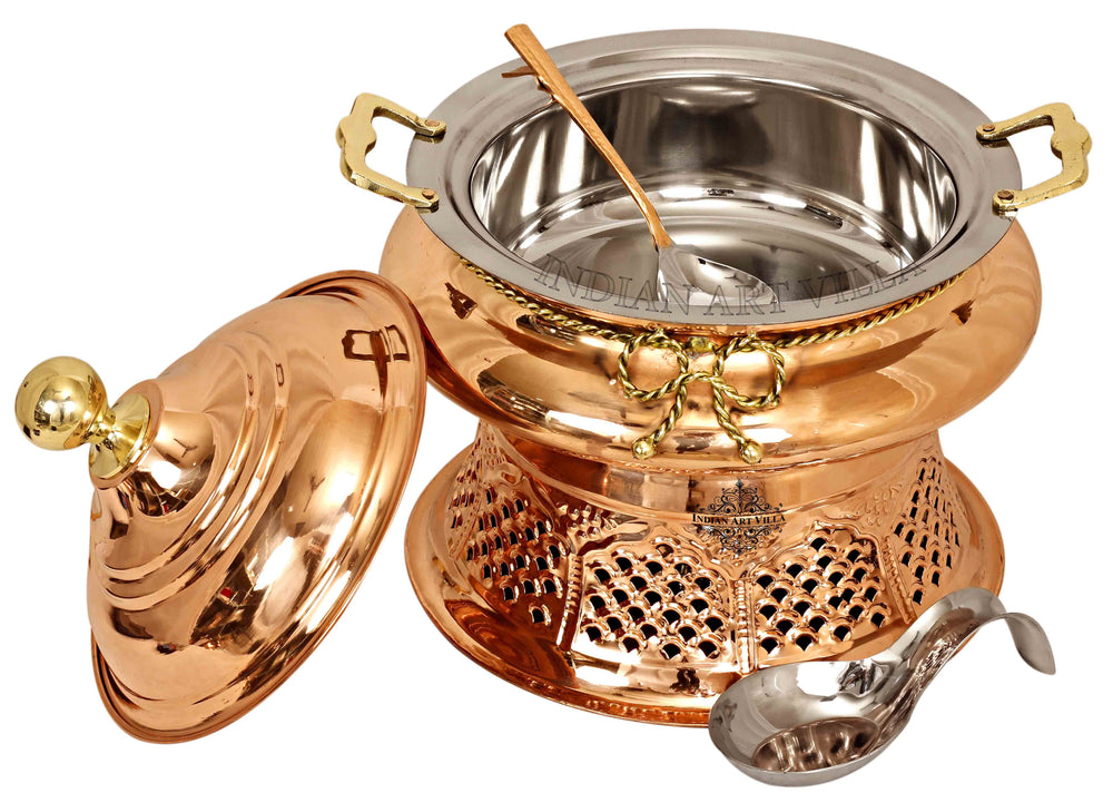 Steel Copper Chafing Dish with Stand & Serving Spoon, 6 Ltr. Chafing Dishes CC-32
