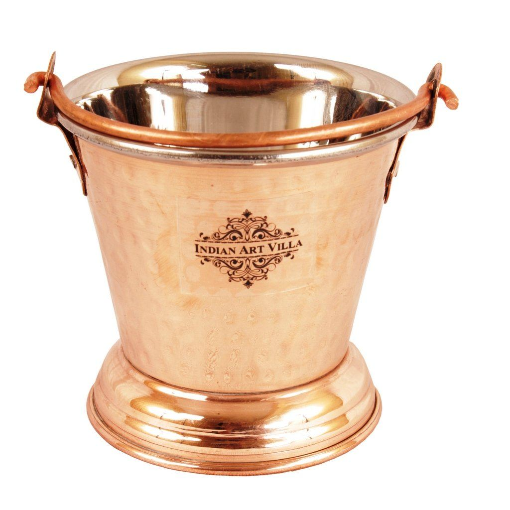 Steel Copper Curry Daal Serving Indian Dishes Bucket 10 Oz Buckets CC-6