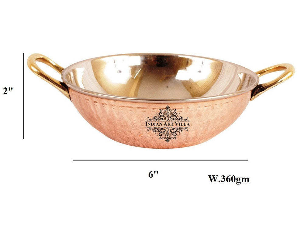 Steel Copper Dish Serving Indian Food Kadai Kadai Indian Art Villa 13 Oz