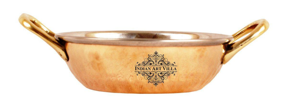 Steel Copper Dish Serving Indian Food Kadai Kadai Indian Art Villa