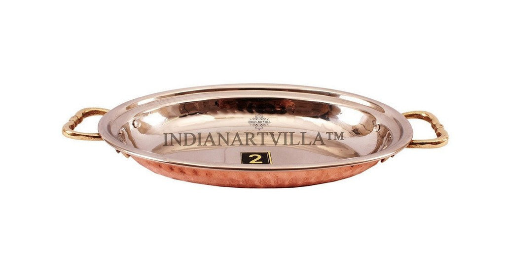 Steel Copper Dish Serving Oval Platter with Brass Handle Platters Indian Art Villa 13 Oz
