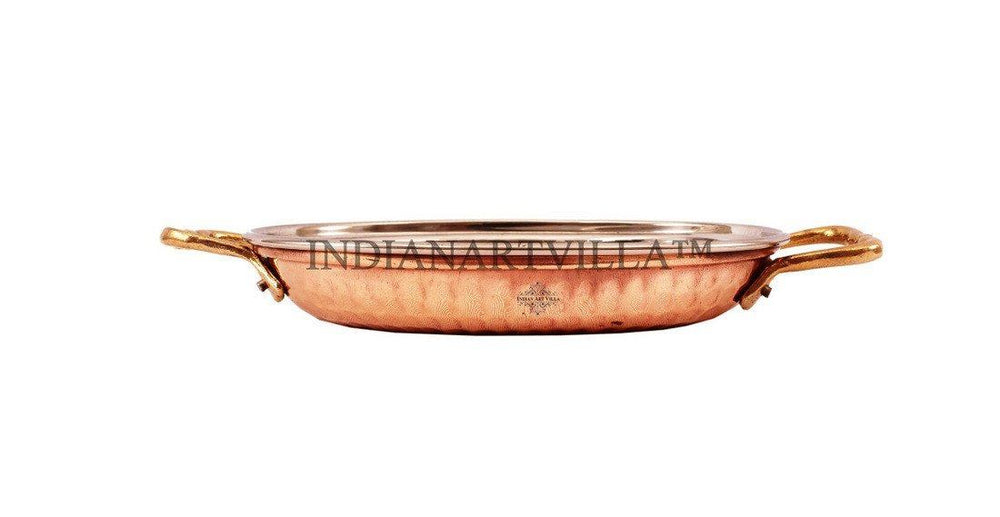 Steel Copper Dish Serving Oval Platter with Brass Handle Platters Indian Art Villa