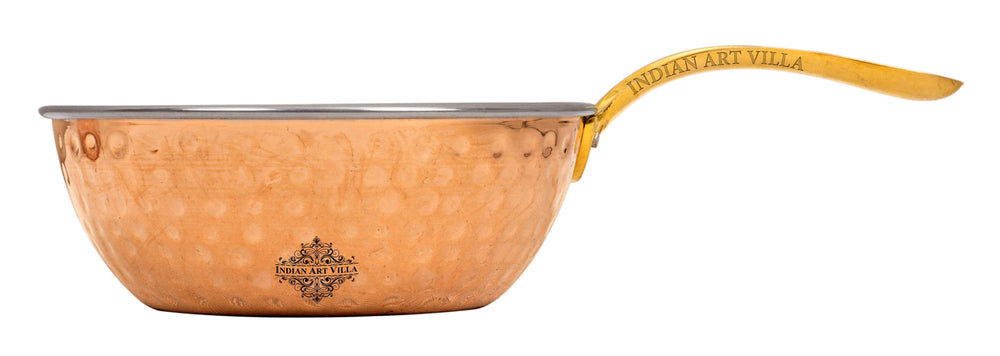 Steel Copper Hammer Serving Pan with Brass Handle