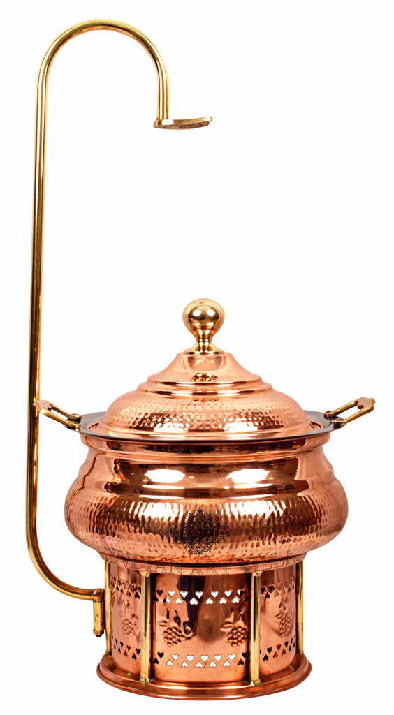 Steel Copper Hammered Chaffing Dish With Stand & Handle - 135.25 Oz  | 202.88 Oz | 270.51 Oz