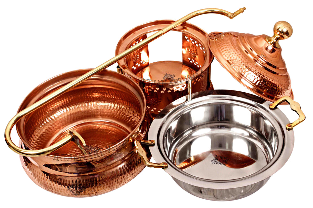 Steel Copper Hammered Chaffing Dish With Stand & Handle - 135.25 Oz | 202.88 Oz | 270.51 Oz Chafing Dishes CC-32