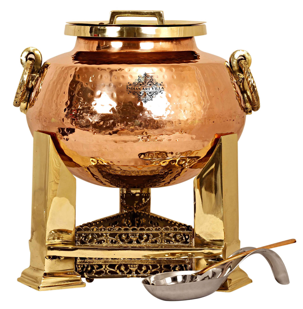Steel Copper Hammered Chafing Dish with Brass fuel Gel Stand & Serving Spoon - 15 Ltr.