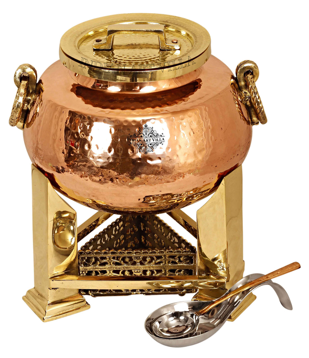 Steel Copper Hammered Chafing Dish with Brass fuel Gel Stand & Serving Spoon - 15 Ltr. Chafing Dishes CC-32