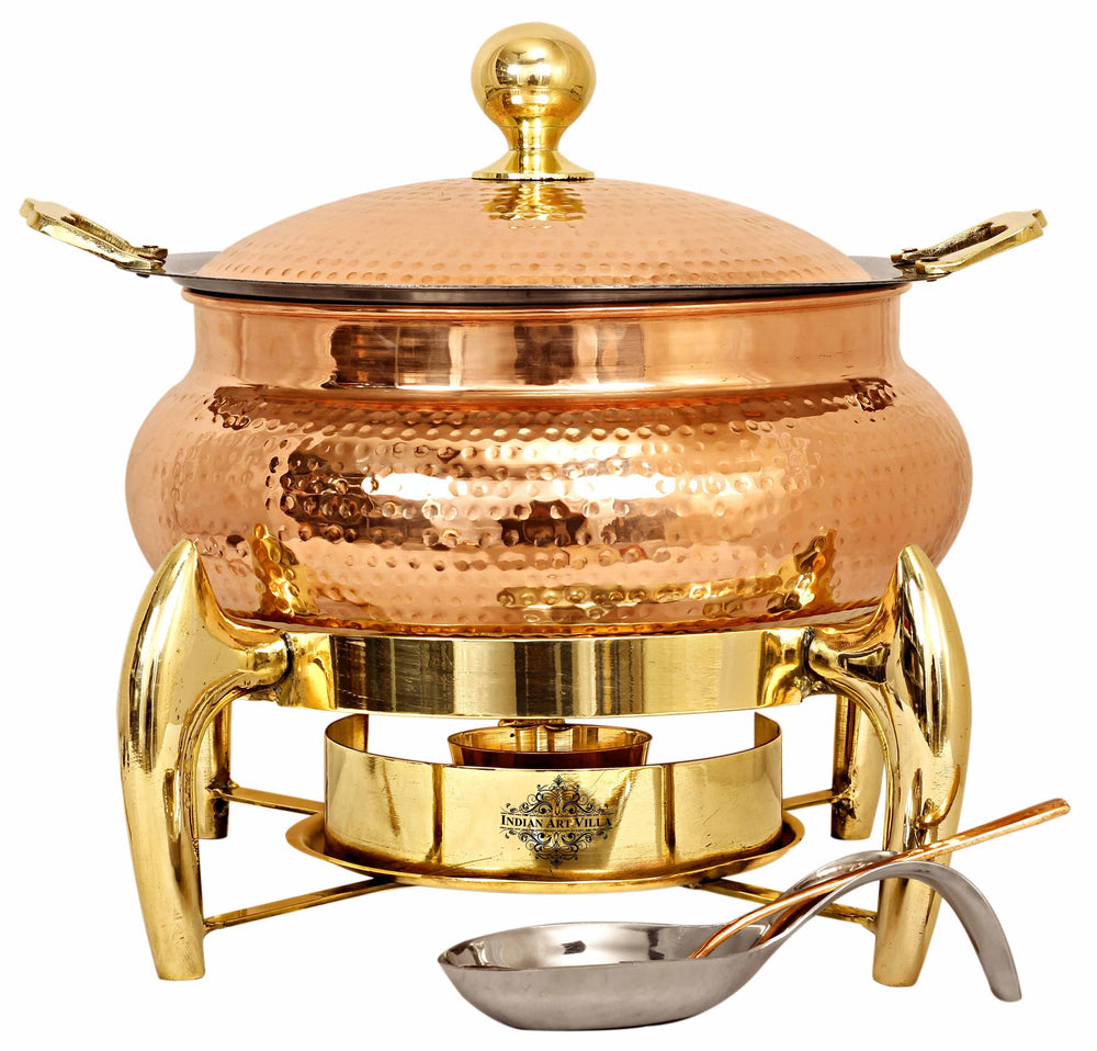 Steel Copper Hammered Chafing Dish with Brass fuel Gel Stand & Serving Spoon, 6 Ltr.