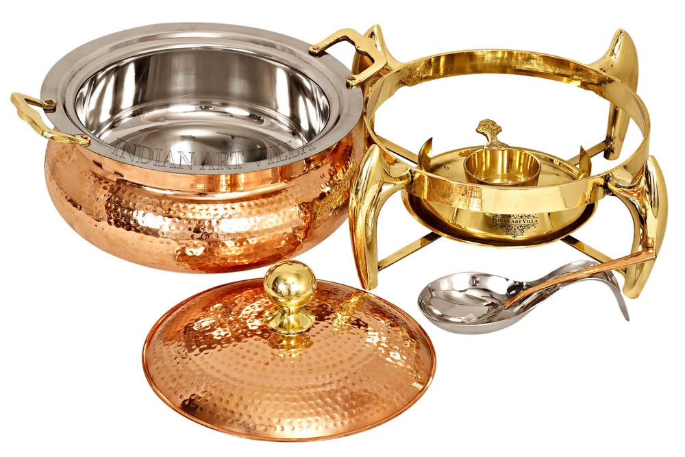 Steel Copper Hammered Chafing Dish with Brass fuel Gel Stand & Serving Spoon, 6 Ltr. Chafing Dishes CC-32