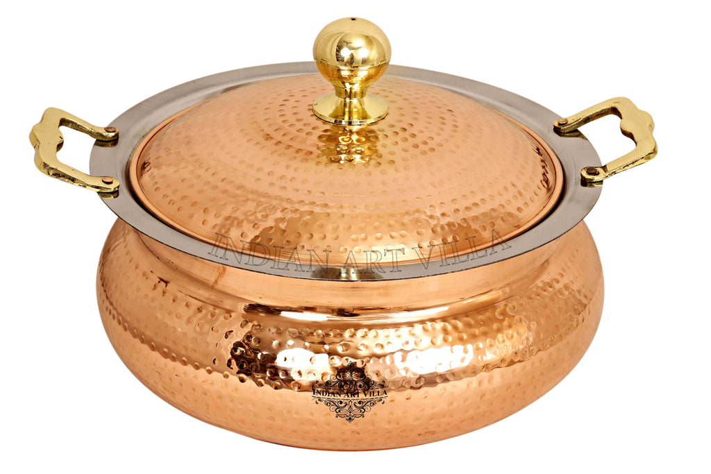 Steel Copper Hammered Chafing Dish with Brass Knob Chafing Dishes CC-32