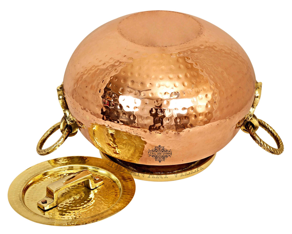 Steel Copper Hammered Chafing Dish with Brass Lid - 15 Ltr. Chafing Dishes CC-32