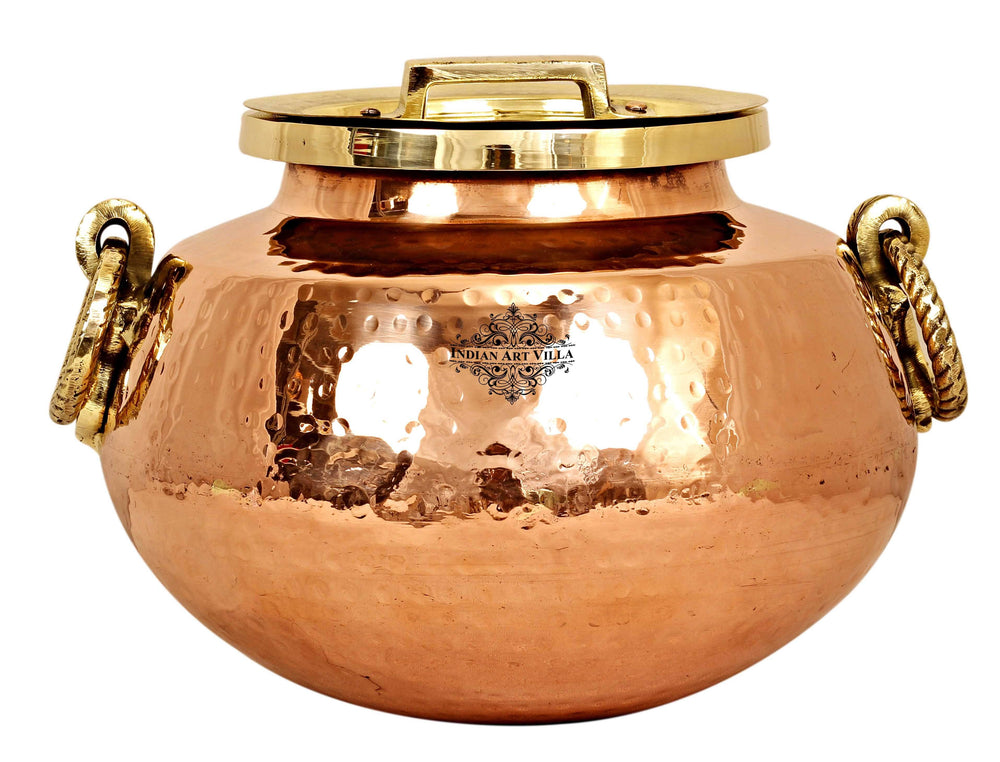 Steel Copper Hammered Chafing Dish with Brass Lid - 15 Ltr.