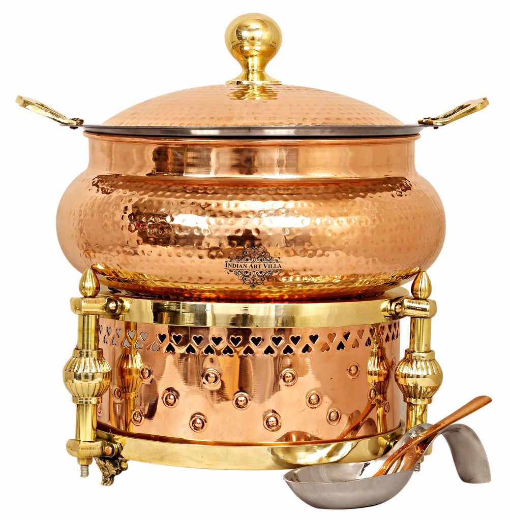 Steel Copper Hammered Chafing Dish with Sigdi Design fuel Gel Stand & Serving Spoon
