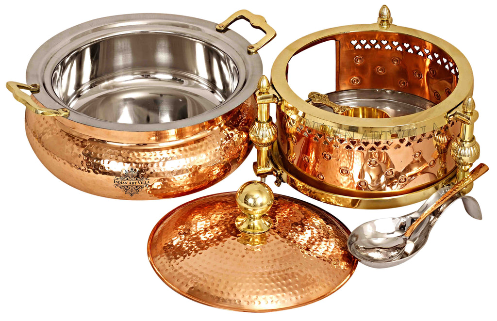 Steel Copper Hammered Chafing Dish with Sigdi Design fuel Gel Stand & Serving Spoon Chafing Dishes IAV-CC-32-108-