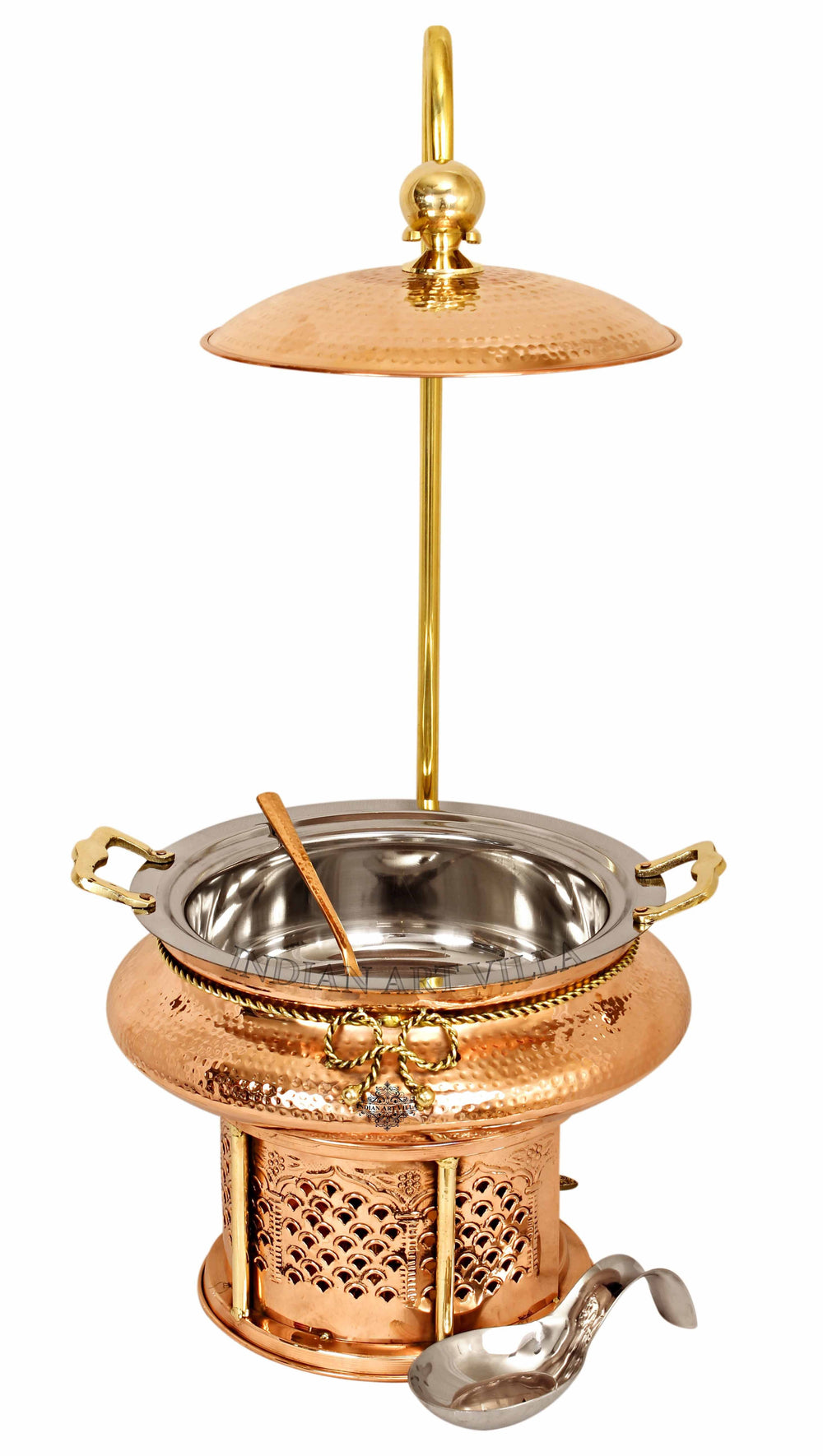 Steel Copper Hammered Chafing Dish with Sigdi Stand & Handle - 135.25 Oz | 202.88 Oz | 270.51 Oz Chafing Dishes CCB-DW