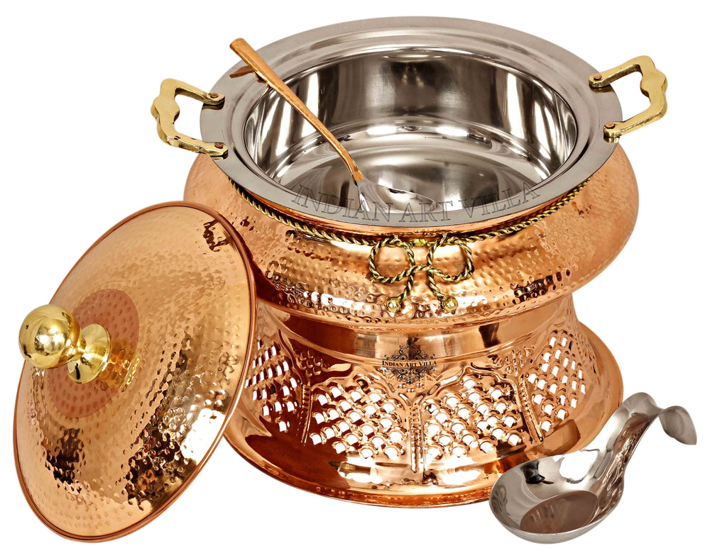 Steel Copper Hammered Chafing Dish with Stand & Serving Spoon, 6 Ltr. Chafing Dishes CC-32