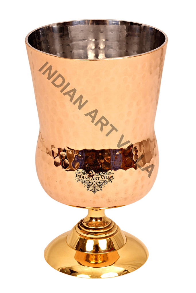 Steel Copper Hammered Design Glass Tumbler with Brass Stand,400 ML Copper Tumblers CC-17
