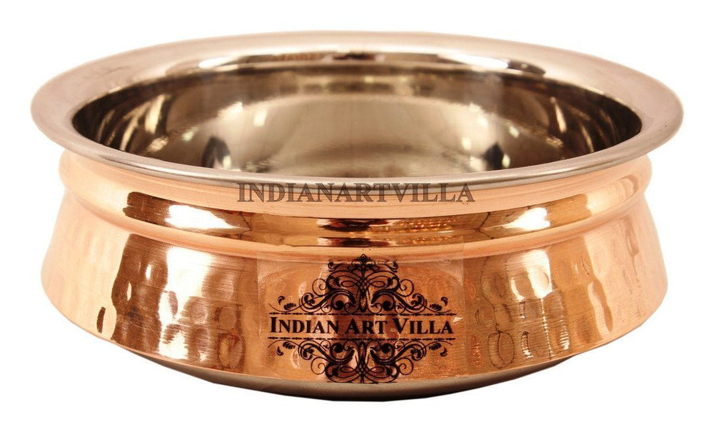 Steel Copper Hammered Design Induction Handi Handi Indian Art Villa 30 Oz
