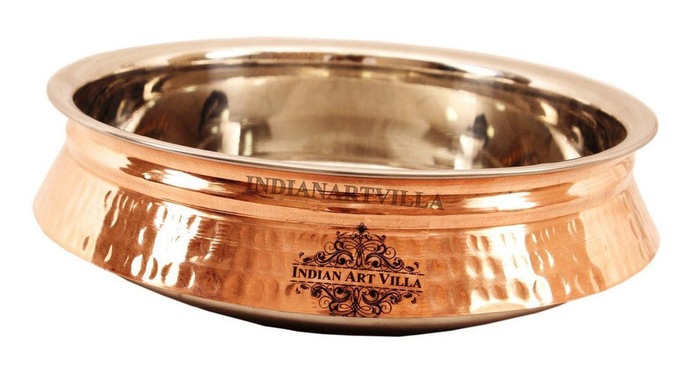 Steel Copper Hammered Design Induction Handi Handi Indian Art Villa 49 Oz
