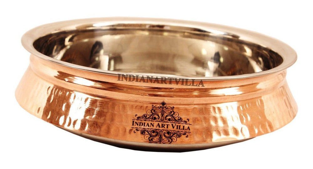 Steel Copper Hammered Design Induction Handi