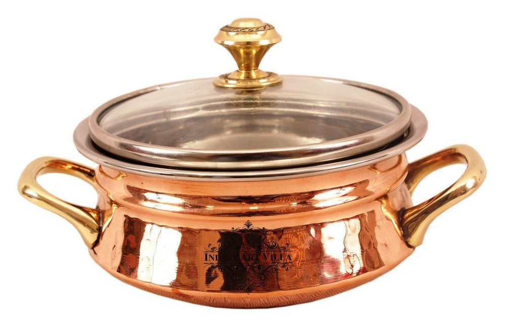 Steel Copper Handi with Glass Lid & Brass Handle Handi Indian Art Villa 11 Oz