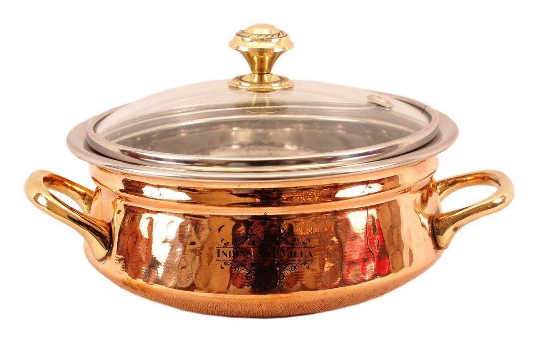 Steel Copper Handi with Glass Lid & Brass Handle