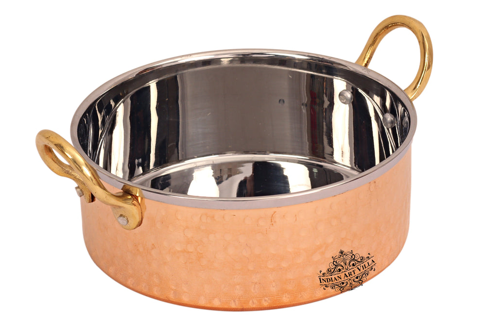 Steel Copper Handmade Designer Serving Bowl with Handle Sauce Pot CC-21