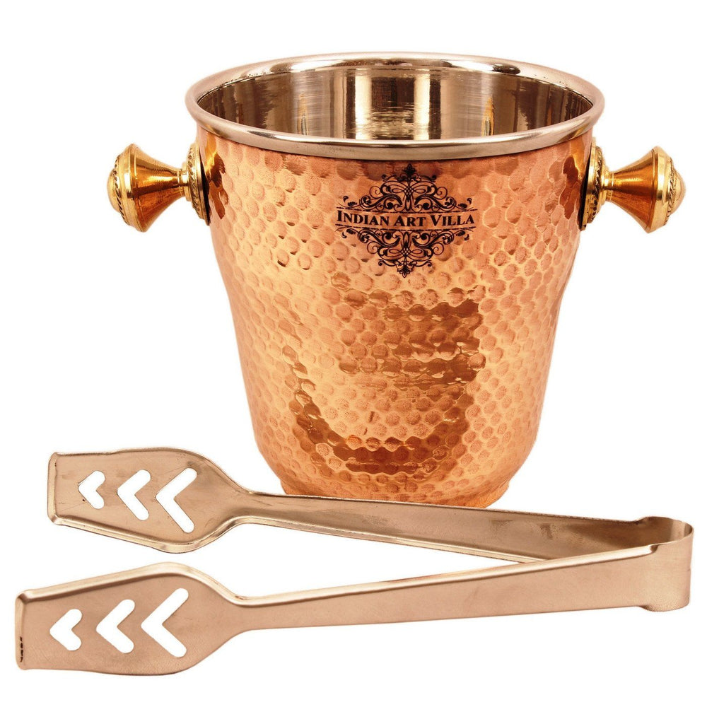 Steel Copper Ice Bucket Pot | 1000 ML | with Ice Holder