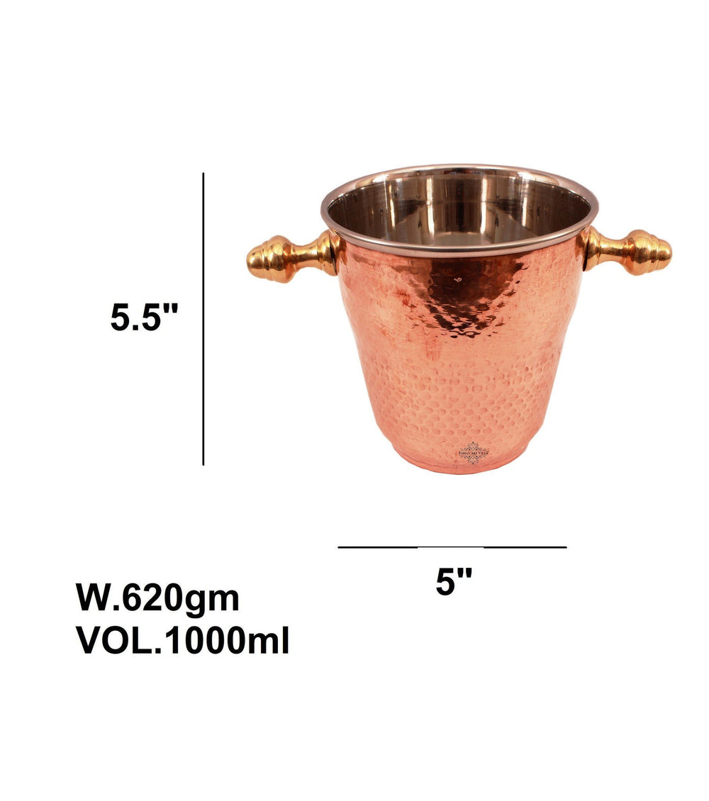 Steel Copper Ice Bucket Wine Cooler 33 Oz - Bar Hotel Tableware Ice Containers Indian Art Villa