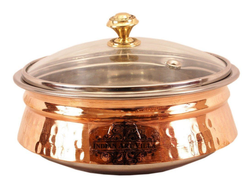 Steel Copper Induction Handi with Glass Lid Handi Indian Art Villa 49 Oz