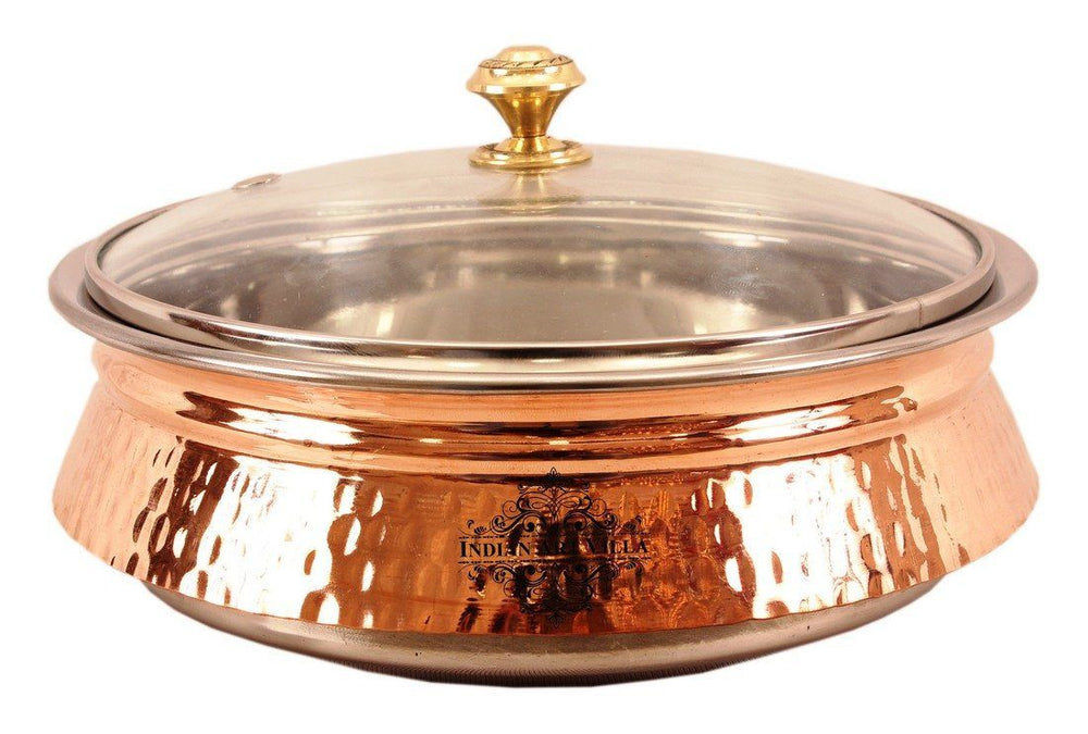 Steel Copper Induction Handi with Glass Lid