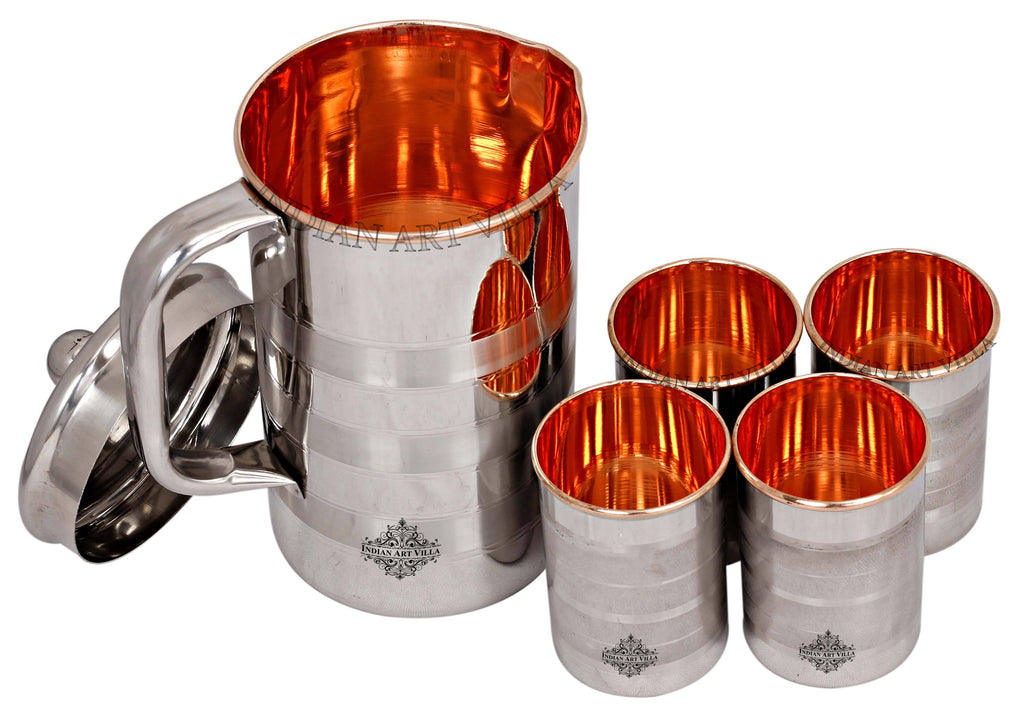 Steel & Copper Jug No.4 With Brass Knob & Glass set of - 3 Pieces | 5 Pieces | 7 Pieces Copper Ware Drink Ware Combo SCB-DW 5 Pieces