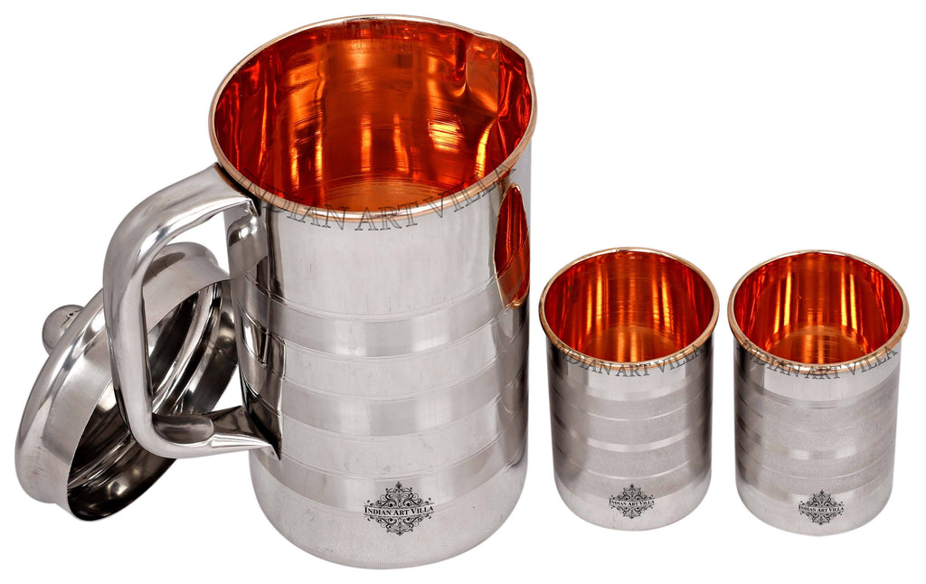 Steel & Copper Jug No.4 With Brass Knob & Glass set of - 3 Pieces | 5 Pieces | 7 Pieces Copper Ware Drink Ware Combo SCB-DW